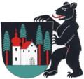 grosses Wappen von Waldstatt mit Bär als Schildhalter